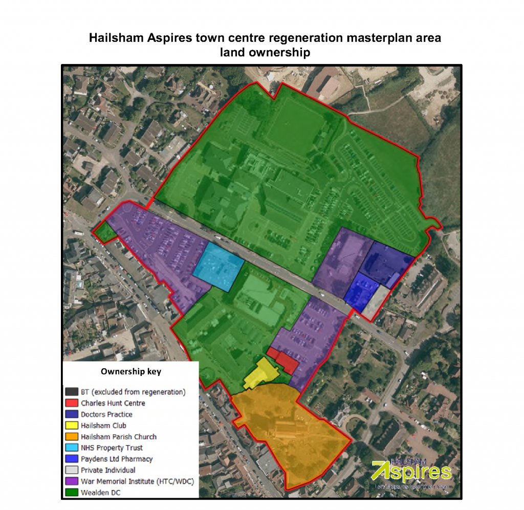 Ariel view to show Hailsham Aspires town centre regeneration masterplan area land ownership
